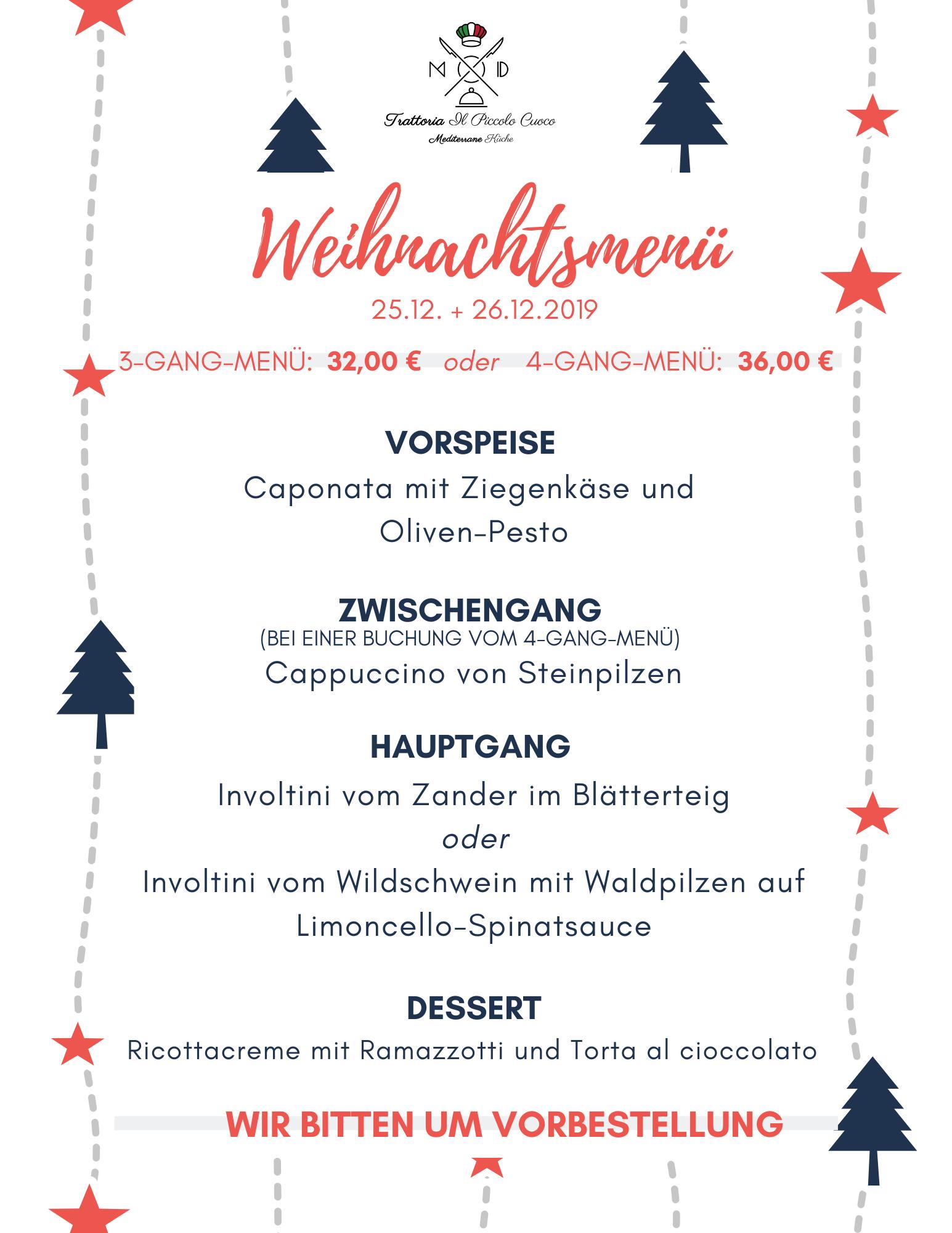 Kulinarisches Weihnachtsmenü Il Piccolo Cuoco Ratingen